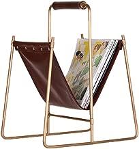 Magazine Rack Magazine Basket Magazine Frame Bronze Metal U-Shaped Leather Shelf Decoration Living Room Study Floor Decoration Storage Rack File Placement Rack (Color : Brown, Size : 403050cm)