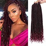 AISI BEAUTY Crochet Locs Goddess Pre Looped Crochet Hair Staright Crochet Faux Locs with Curly Ends for Black Women 20 inch Faux Locs Hair Extension 6Packs/Lot 24 Roots(T1B-BUG)
