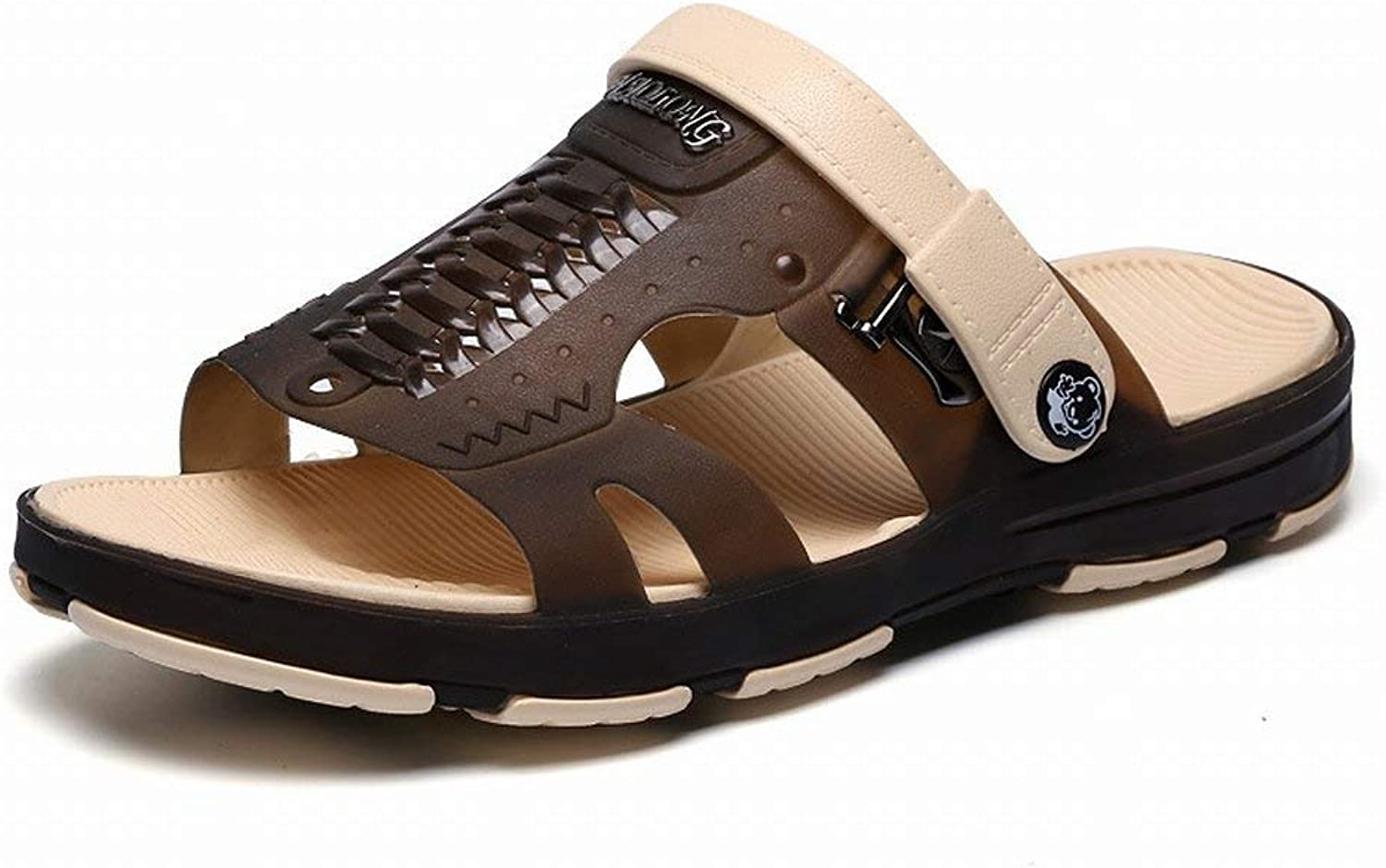 Fashion Breathable Hole shoes Comfort All-Match Sandals Trend Casual Slippers (color   Coffee, Size   43)