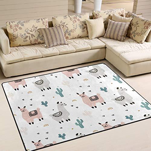 Use7 Teppich mit Cartoon-Lama-Alpaka-Kaktus-Pflanze, dreieckig, Teppich für Wohnzimmer, Schlafzimmer, 160 cm x 122 cm