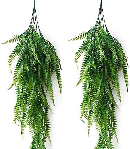 JaneYi 2 Stück Künstlich Boston Farn Kunststoff Pflanze Rebe Laub Gefälschter Trauerweide-Efeu Künstlicher hängender Farne Pflanze Grün-Blatt für Innen Draußen Haus Büro Wand Garten Spalier Dekor