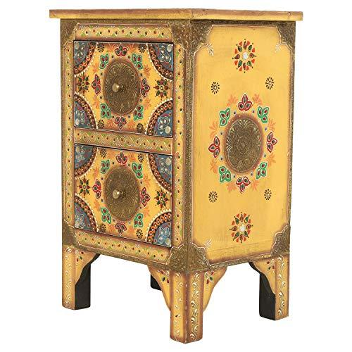 Orientalische handbemalte Kommode Balu aus Massivholz Mango 40x30x60 cm (BxTxH) mit 2 Schubladen & Messing verziert | Kunsthandwerk Pur | Indian Style Schubladen-Kommode | RK45-70