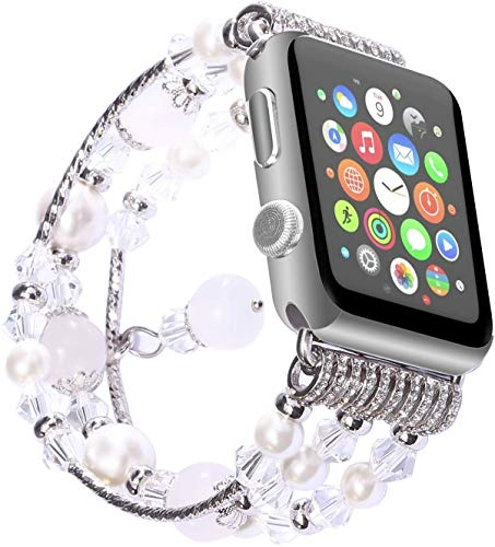 Correa de Reloj, ANGGO Moda Elastic Stretch iWatch Correa de Repuesto Reloj de Pulsera Natural ágata Pulsera para Apple Watch Serie 2 Serie 1 Toda la versión (38 mm/Gris)