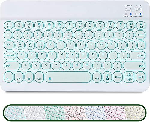 GECENinov Kabellose Tastatur,Bluetooth Tastatur, tragbare ultradünne kabellose Tastatur mit 7 Hintergrundbeleuchtungen, aufladbare Bluetooth Tastatur, für IOS、Android、Windows System.