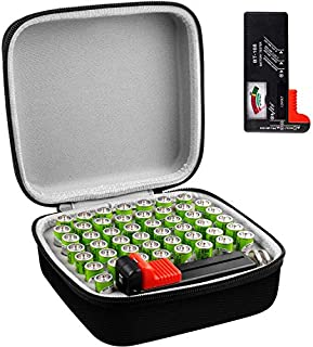 Battery Organizer Storage Box with Battery Tester (BT168), Case Bag Holder fits for 50 AA Lithium 3V (Not Includes Batteries)