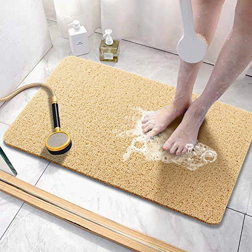 Asvin Soft Textured Bath, Shower, Tub Mat, 24x16 Inch, Phthalate Free, Non Slip Comfort Bathtub Mats with Drain, PVC Loofah Bathroom Mats for Wet...