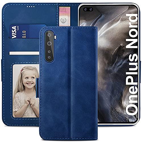 YATWIN Handyhülle Oneplus Nord Hülle, Klapphülle Oneplus Nord Premium Leder Brieftasche Schutzhülle [Kartenfach][Magnet][Stand] Handytasche für Oneplus Nord Hülle, Blau