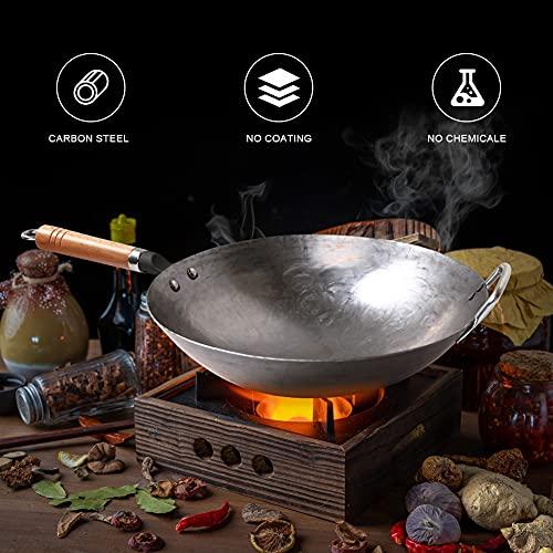 COUNER - Wok tradicional de acero al carbono, martillado a mano, sartén para saltear arroz, mango de madera