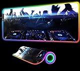 DJ Dance Dancing Alfombrilla de Ratón RGB LED Alfombrilla de Ratón Juegos Luminous XXL USB Gamer Pc Ordenador Portátil Accesorios Juegos de Oficina Escritorio Juegos 700X300X4 mm