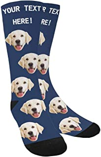 Custom Face Socks,Turn Your Photo Into Paws and Dog Bones Blue Crew Socks Unisex with Your Text