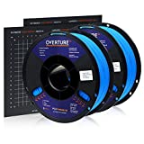 Overture PLA Plus (PLA+) Filament 1.75mm PLA Professional Toughness Enhanced PLA Roll with 3D Build Surface 200 × 200mm, Premium PLA 1kg Spool (2.2lbs), Dimensional Accuracy +/- 0.05 mm (Black)