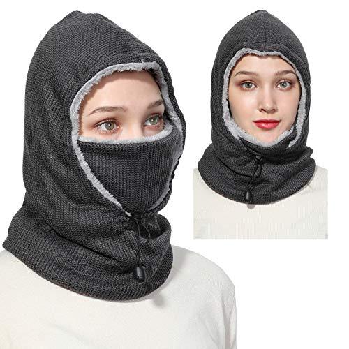 Balaclava Fleece Hood Ski Face Mask Women Men Winter Face Mask Head Warmer Windproof Cap for Snowboarding Running Dog Walking (Grey)