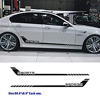 Boilipoint 1pair/2Pcs Car Sport Stripes Racing Lower Door Panel Decal for car Side Sticke Fir for All Cars SUV Free Size Matte Color