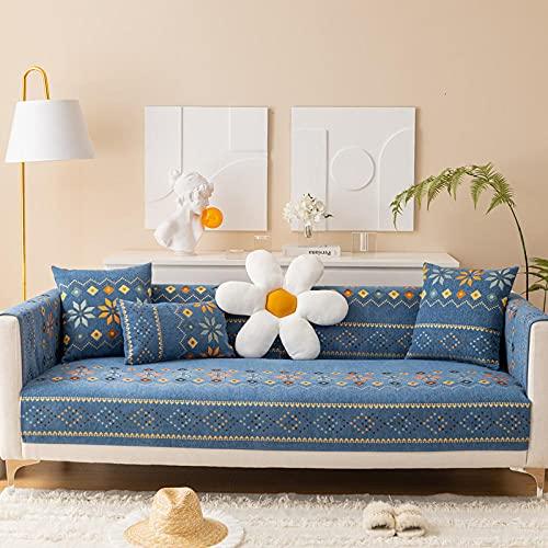 Fsogasilttlv Cubre/Protector Sofá,Cojín de sofá de Chenilla Engrosada Jacquard, Toalla de sofá Funda de Asiento de sofá para Esquina de Sala de Estar Azul 35 * 83 Inch