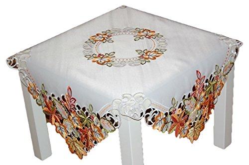 Espamira Decke 85x85 cm Herbst Weiß Blätter Bunt gestickt Mitteldecke Herbstdecke Blätterdecke