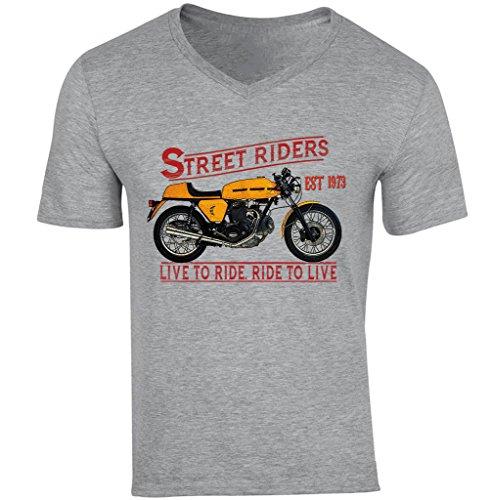 TEESANDENGINES Ducati 750 Sport 1973 - Camiseta con cuello en V para hombre Gris gris L