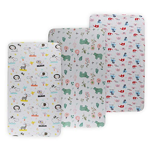 Fantastic Deal! Onacosht Pack n Play Playard Sheet Set 3 Pack 195 GSM Jersey Cotton Fitted Sheets So...