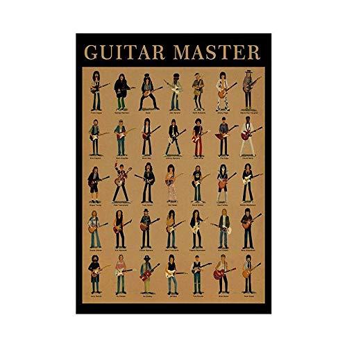 HNZKly Guitar Master Wand Bilder Leinwand Gemälde Gitarre Spielen Poster Gitarrenakkorde Bilder Wohnzimmer Schlafzimmer Musikzimmer Home Deko 40x60cm / Ungerahmt Art