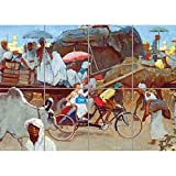 PANEL ART PRINT PAINTINGS LANDSCAPE MARKET TRICYCLE KARACHI
