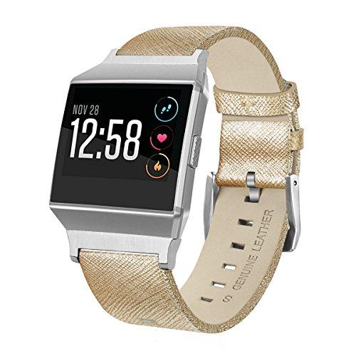 Aisports Ersatzarmband für Ionic Straps, Ionic Strap Leder Smart Watch, verstellbares Ersatzarmband mit klassischer Armbandschnalle für Ionic Fitness Zubehör, Gold