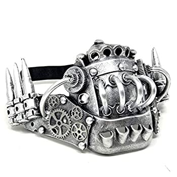 Storm buy] Steampunk Style Metallic Half Bottom Face Mask Halloween Costume Cosplay Silver Color