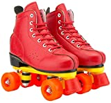 Quad Roller Skates for Women Red Artificial Leather Roller Skates Double Line Skates Lace Up High Top Roller Boots