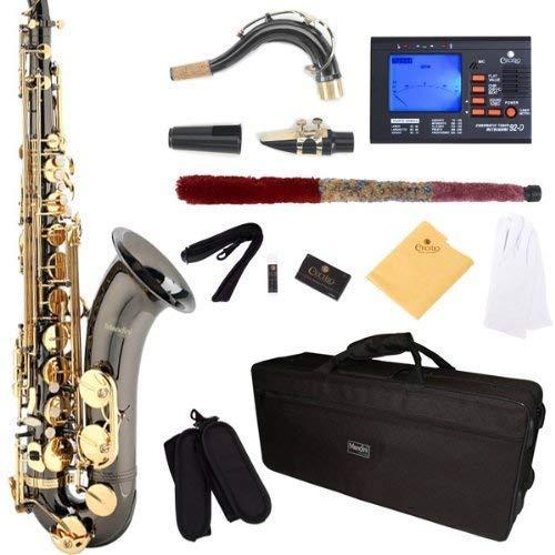 Mendini por Cecilio MTS-BNG + 92d negro llaves B Flat Tenor saxofón de oro chapado en níquel y con sintonizador, funda, boquilla, 10cañas y más