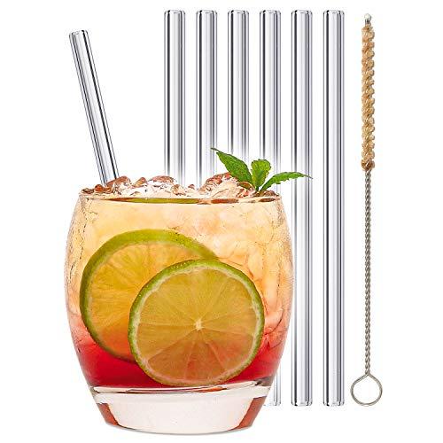 stråwline EINFÜHRUNGSANGEBOT Glas-Strohhalme 15 cm, wiederverwertbar + Reinigungsbürste (vegan) aus Agave - ideal für Cocktails, Longdrinks & Säfte