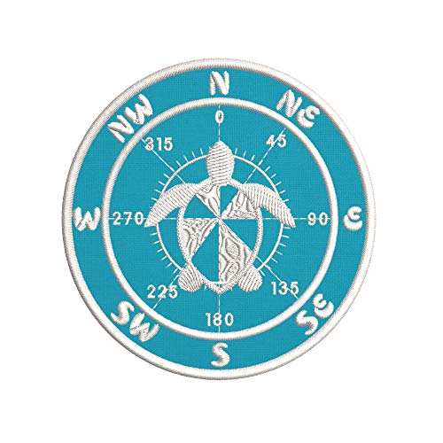 Compass w/Sea Turtle Embroidered Premium Patch Iron-On or Sew-On Embroidery Applique - Color: Blue - Nautical Sea Ocean Creatures Beach - Fun Novelty Badge Biker Emblem - Vacation Tourist Souvenir