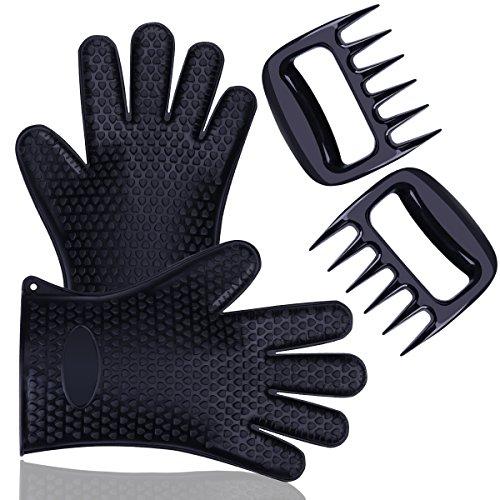 blumads Silikon Grill Pulled Pork Krallen Handschuhe mit Fleisch Aktenvernichter, hitzebeständig für Grillen, Kochen Rauchen Schutz, Passform für BBQ Fleisch Turner ODER Ofen Handschuhe (Schwarz)
