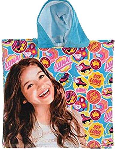 Disney Soy Luna Mädchen Bade Poncho mit Kapuze aus 100% Baumwolle, Blau (Rollschuh-Motive)