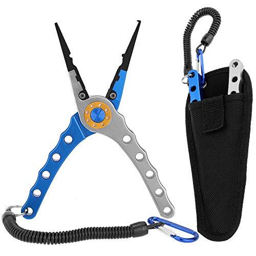 Lixada 20cm Außen multifunktionale Angeln Zangen Linie Cutter Hook Remover Tackle (Blau und Silber)