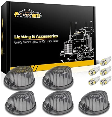 Partsam 5X Cab Marker Round Light Smoke Lens 1313S White T10 LED Bulb Compatible with C1500 product image