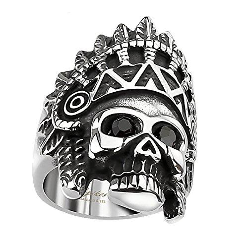 Piersando Herren Männer Biker Rocker Ring Apache Indianer Totenkopf schwarze Augen Edelstahl Silber Schwarz Größe 69 (22.0)