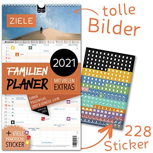 Familienplaner 2021 – ZIELE   5 Spalten   Wandkalender: 23x43cm   Familienkalender Extras: 228 praktische Sticker, Ferien 2021/22, Pollen-, Obst- & Gemüse-, Jahreskalender, Vorschau bis März 2022