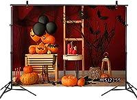 新しいハロウィーンのカボチャの背景10x7ftファブリックブラックバットブランチバルーンキャンドル写真の背景写真撮影のためのハロウィーンパーティーポートレート写真ブースの背景スタジオの小道具