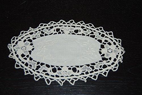 Unbekannt Nappe faite à la main Set de table Dessous avec dentelle 45% coton 35% lin 15 cm Ovale Naturel 1 PCS