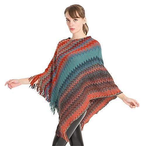 Qiminclo Damenschal Tücher und Wickel Damen/Damen Batwing Quaste Strick Poncho Schals Pullover Outwear Tops (Farbe : Rot)