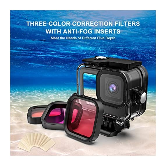 Kupton Accessories Kit Bundle Compatible with GoPro HERO9, Waterproof Housing + Glass Screen Protector + Silicone Case… 5 📷【60m/196ft Waterproof Housing Case】Kupton housing case has tight buckle and upgraded waterproof seal, providing ultimate protection for your GoPro during extreme outdoor activities and deep-water diving. 📷【Silicone Case Set】New Version Bundle compatible with GoPro HERO9 adds daily protection set for your camera, including silicone sleeve case, lanyard as well as silicone lens cap. Silicone protective case with light but strong materials fits your camera snugly. Lanyard well solves the problem of carrying for outdoor video activity. 📷【Tempered Glass Screen Protector】Tempered glass protector with a thickness of only 0.3mm brings crystal viewing experience, protecting screen and lens of your camera from dust, fingerprints, drops, scratches and bumps.
