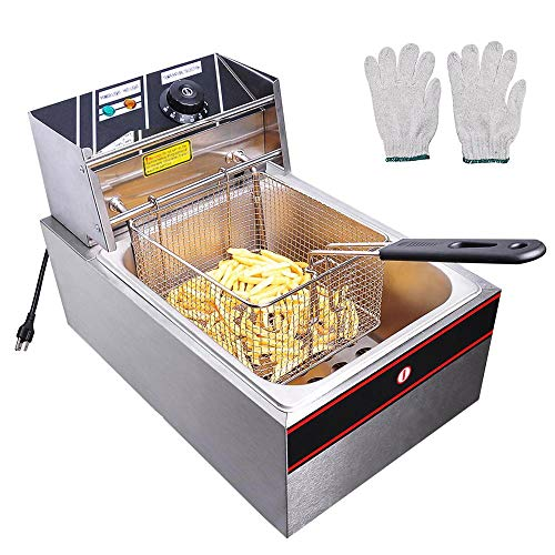 WeChef 6L 2500W Countertop Electric Deep Fryer with Basket Lid Single Removable Tank French Fry Home Kitchen Commercial