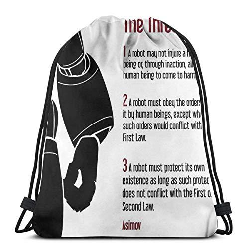 Bingyingne Isaac Asimov I Robot Las leyes de la robótica Mochila deportiva plegable impermeable Bolsa de gimnasio Saco Mochila con cordón
