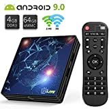 Android 9.0 TV Box 4GB RAM 64GB ROM, T1 Pro Android TV Box RK3318 Quad-Core 64bit with BT 4.1, Dual-WiFi 5G/2.4G, 3D Ultra HD 4K H.265, USB 3.0 Smart TV Box