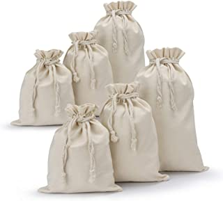 Canvas Drawstring Bag, 6 Pack Segarty Thick Natural Cotton Draw String Muslin Bags Bulk, Reusable Produce Plain Small Pouch, Storage Vegetable Fruits, Tea Leaves, Grains, Nuts, Beans, Lunch Sacks