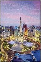 HDインディアナポリスインディアナ-ピンクの雲と街の明かりを備えた上からの街のスカイライン9012921(大人のためのプレミアム1000ピースジグソーパズル19x27)