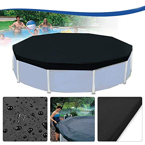 Almabner Runde Pool-Abdeckung, 3,7 m, regendichter Rahmen, aufblasbare Poolabdeckung für runde oberirdische Schwimmbäder, Nicht Null, Schwarz, Free Size