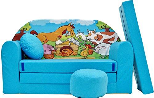 PRO COSMO B5Bambini Divano Letto futon con Pouf/poggiapiedi/Cuscino, Tessuto, Blu, 168x 98x 60cm