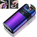 Becrowmeu sans fil lectronique rechargeable double Arc Plasma lger-Allume Cigare sans flamme coupe-vent, cble USB, lgant Coffret cadeau, violet