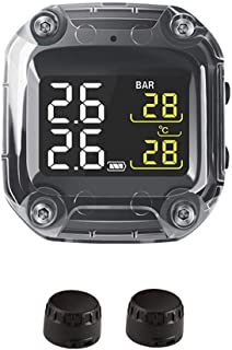 Tawcal Motorcycle TPMS System, Wireless Tire Pressure Monitoring with LCD Screen Tyre Temperature Auto Alarm System Waterproof with 2 External Sensors for Motorcycle
