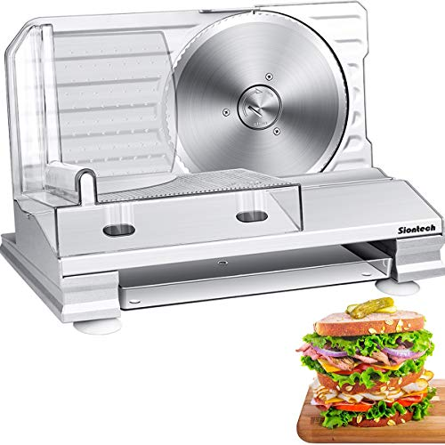Meat Slicers for Home Use, Safest ETL Certified Electric Deli Food Slicer Machine with Removable Blade, 1-20mm Cutter Thickness Adjustable, Anti Slip, Rustproofed Stainless Steel Material