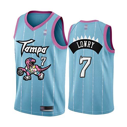 XXJJ Lowry Camiseta de baloncesto # 7 para hombre, diseño de aves depredadores, color rosa y azul, 2021 Tampa City (S-XXL), secado rápido, sin mangas, de malla, color rosa y azul